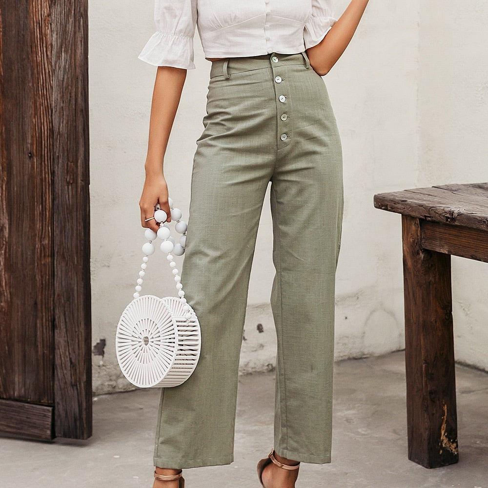 High waist Wide Leg Office Vintage Pants