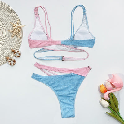 Hollow Out Patchwork Cross Up Swimwear
