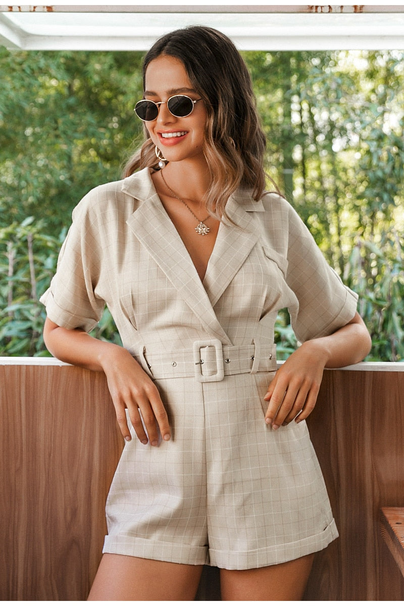 Plaid Sash Belt V-neck Office Playsuit