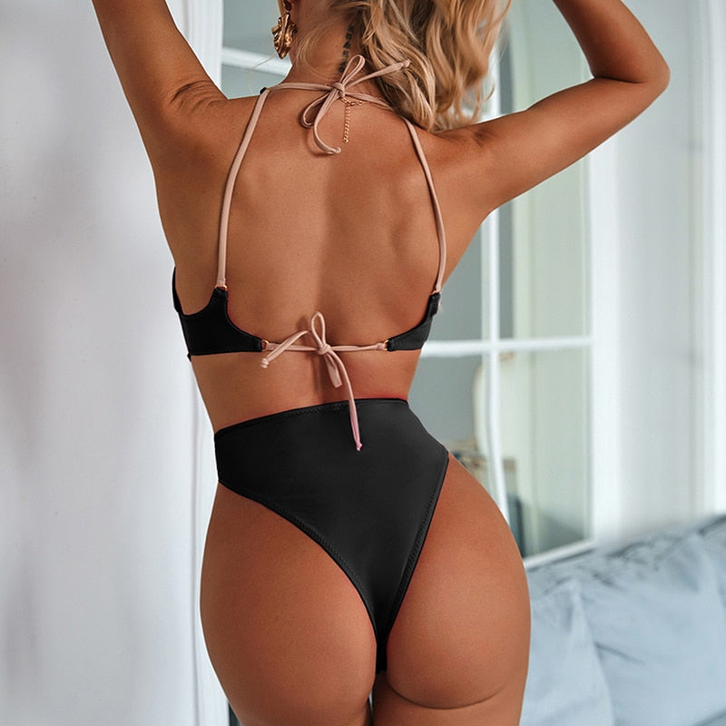 Black Sexy Hollow Out One Piece Swimsuit