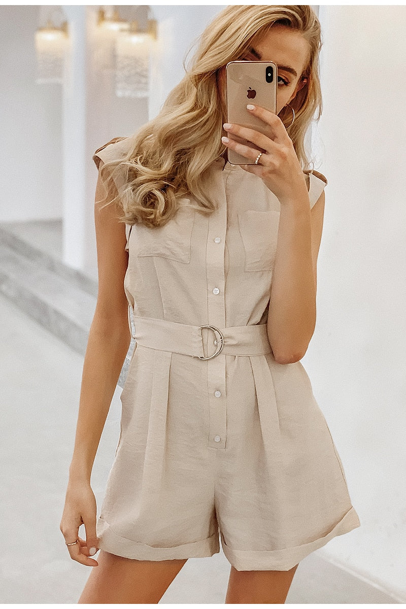 Sash Belt Sleeveless Buttons Pockets Rompers