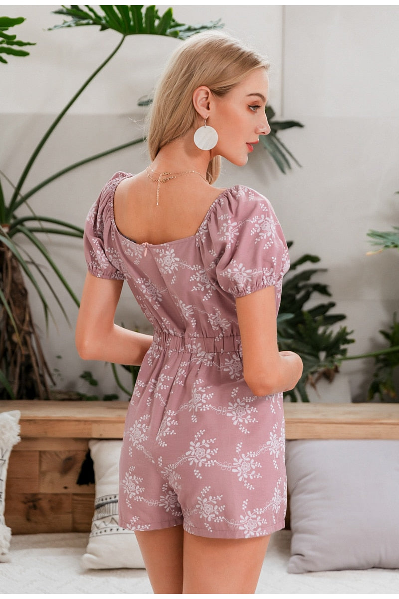 Square Collar Floral Print Short Sleeve Romper