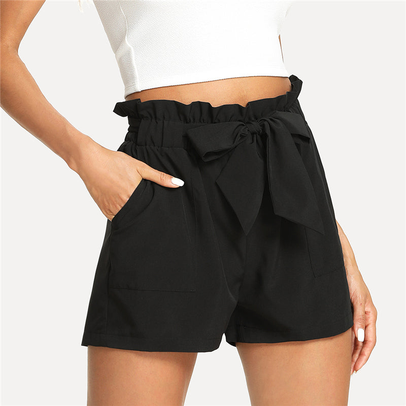 Self Belted Ruffle Knot Shorts