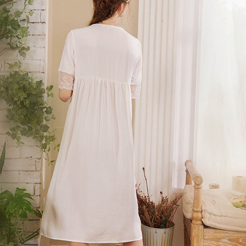 Luxury White Lace Nightdress