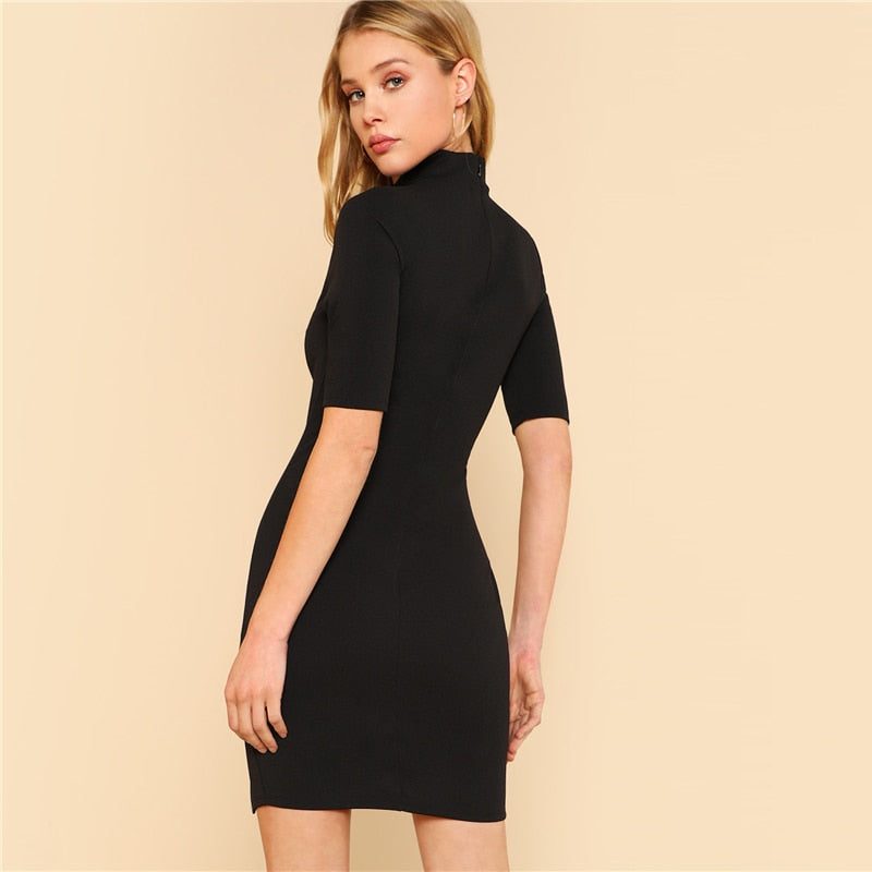 Black Split Mandarin Collar Slit Front Mini Dress