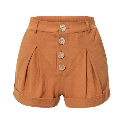 Black Buttons High Waist Cotton Shorts