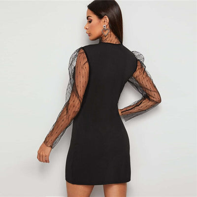 Black Puff Mesh Sleeve High Neck Going Out Mini Dress