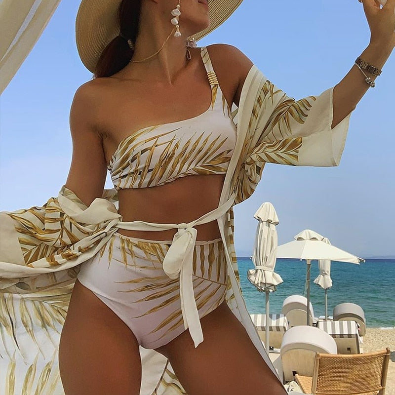 Tropical Leaf High Waist One Shoulder Swimwear