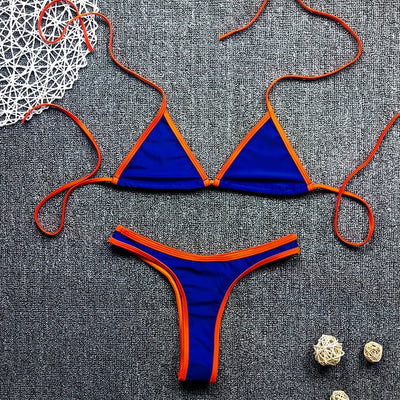 Neon String Halter Triangle Swimsuit
