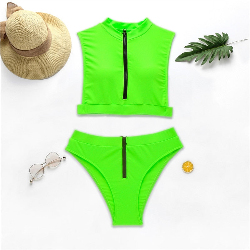Sexy Zipper Neon High Waist Bikini Set
