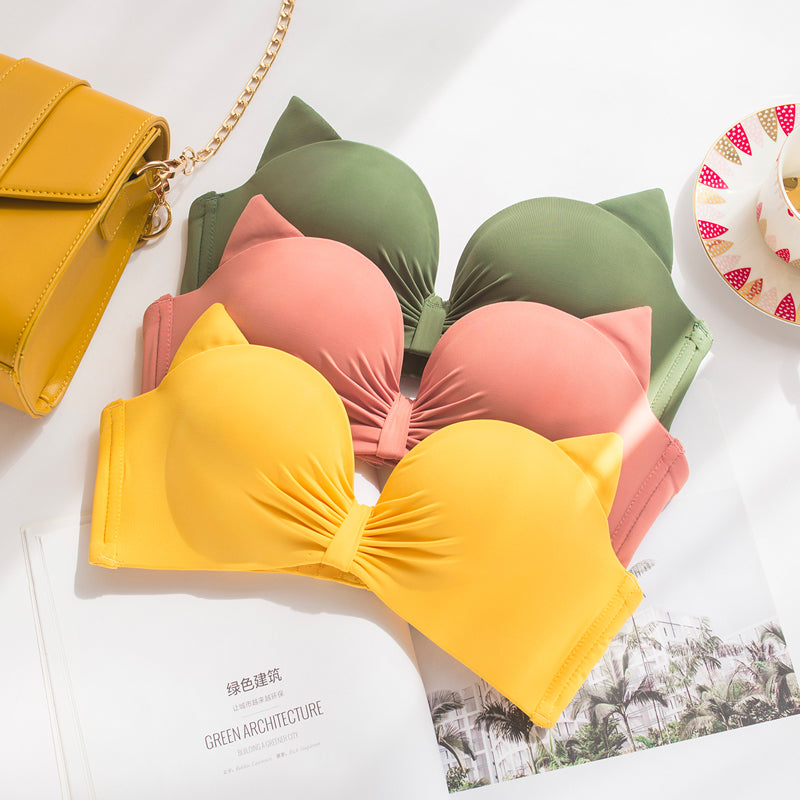 Yellow Padded Straps Push Up Bra
