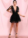 Black Mesh Deep V-neck Ruffled Puff Open Back Mini Party Dress