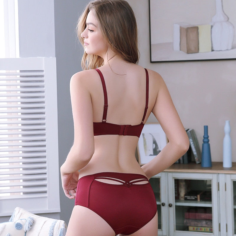 Red Sexy Cut Out Push Up Lingerie Set
