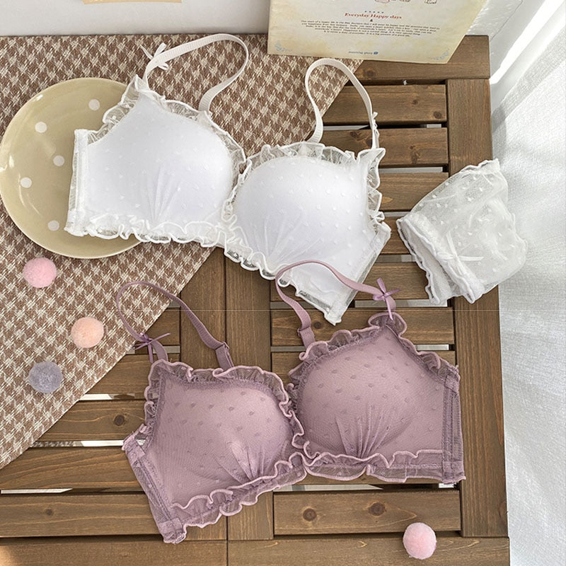 Pink Lace Wireless Push Up Lingerie Set