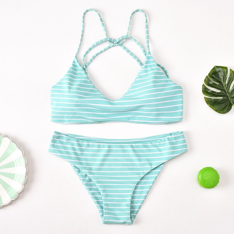 Striped Halter Low Waist Bikini Set