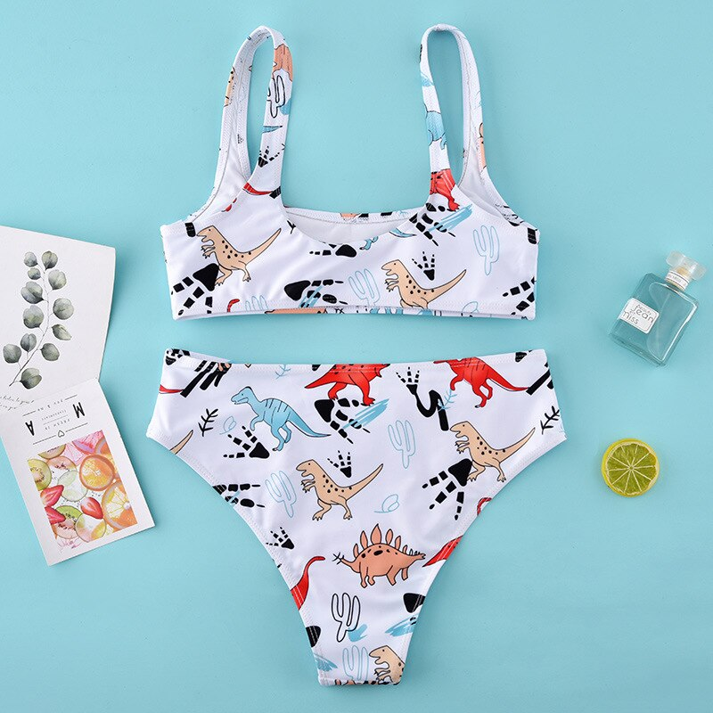 White Cartoon High Waist Bikini