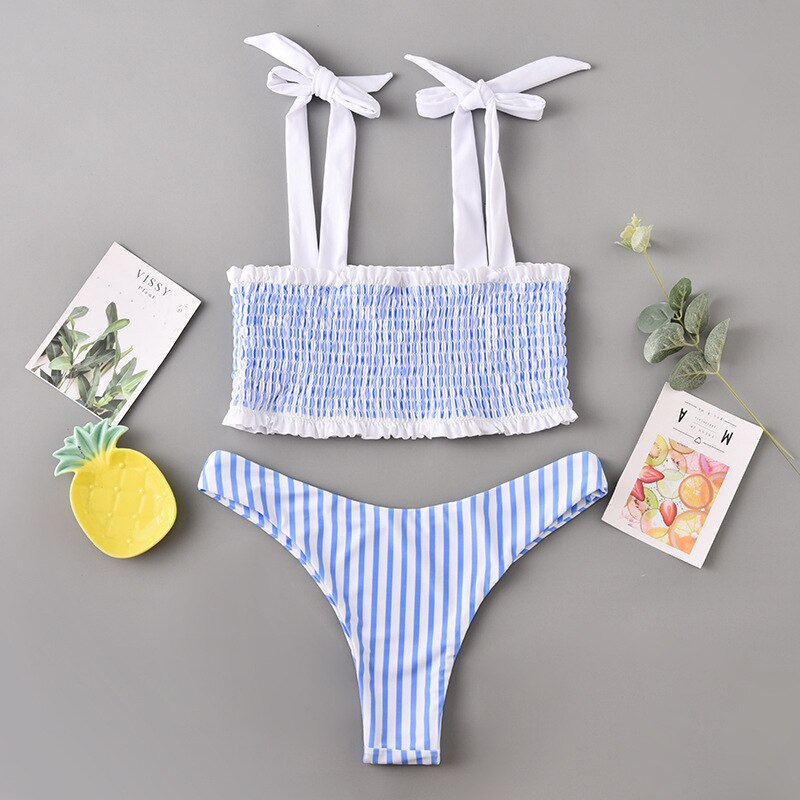 Blue Striped Brazilian Bikini Set