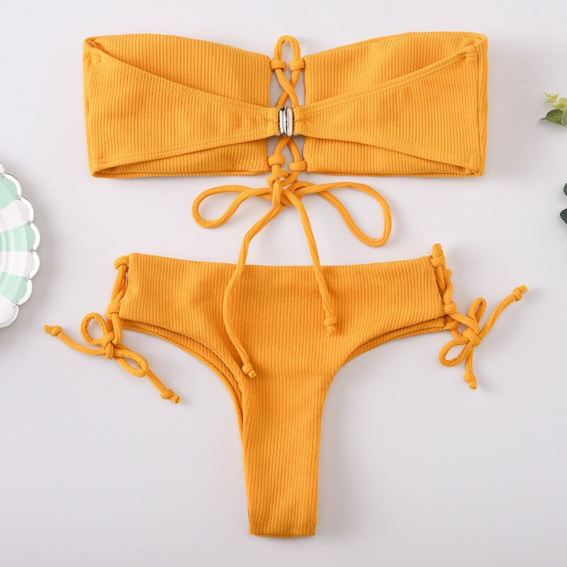 Yellow Lace Up Tube Top Bikini Set