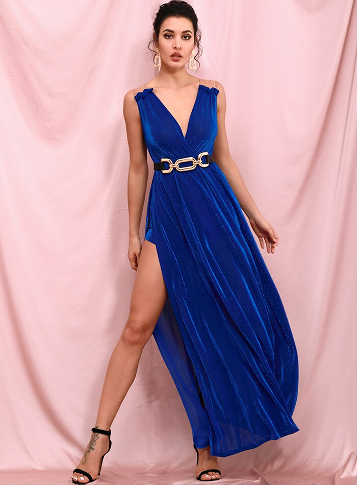 Deep V-Neck Blue Reflective Side Split Prom Maxi Dress