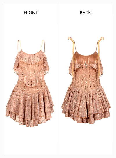 Tube Top Sling Gold Patch Ruffled Party Mini Dress