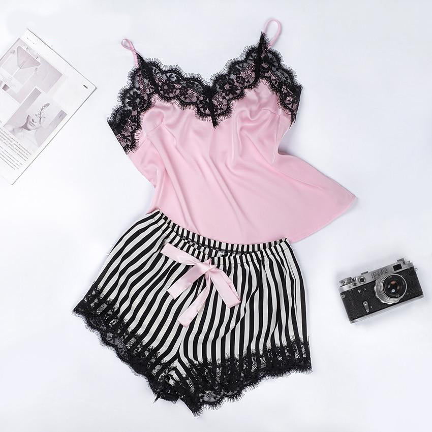 Lace Trim Satin Cami And Striped Shorts Pajama Set