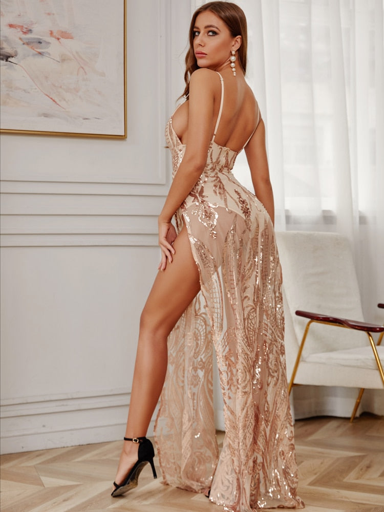 Sexy Sequin Deep V Neck Backless Maxi Party Dress