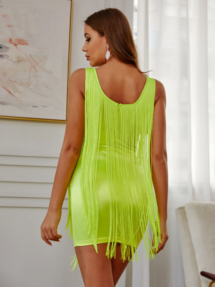 Neon Yellow Tassel Mini Party Dress