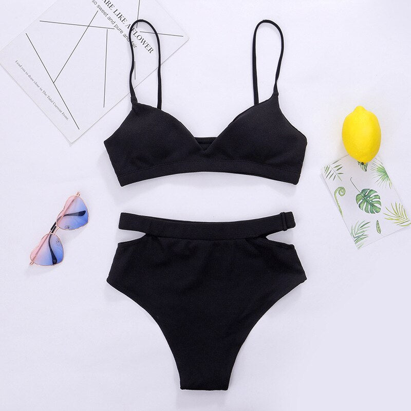Black Cut Out Bikini Set
