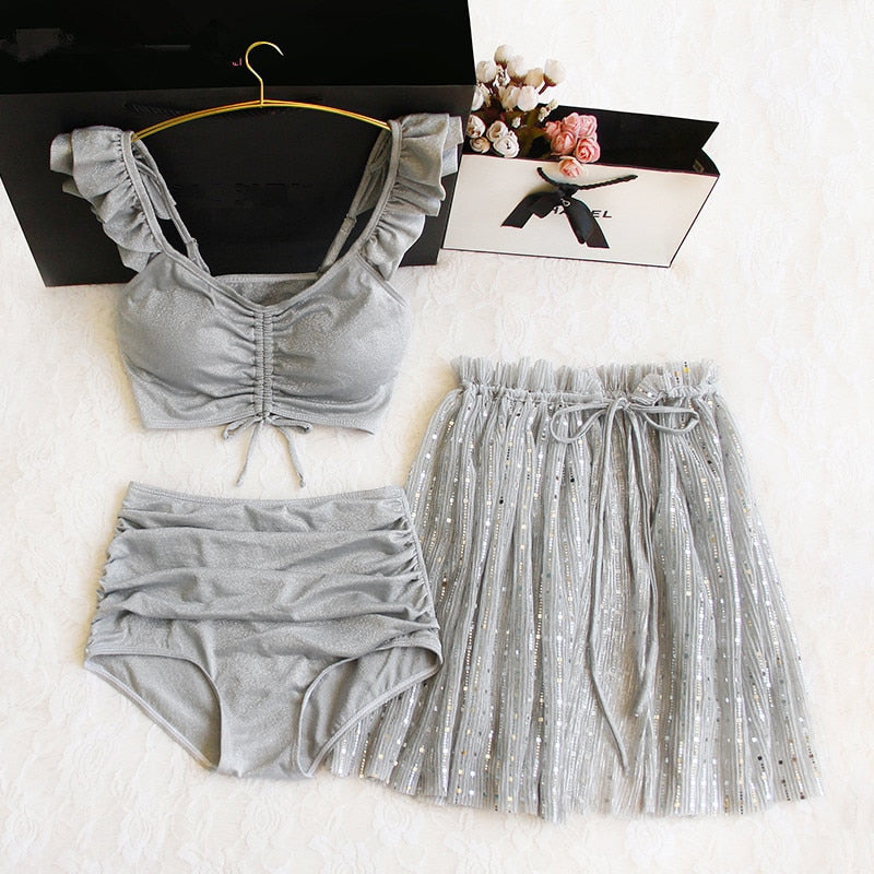 Gray Sequin Ruffle 3 Piece Swim Dress