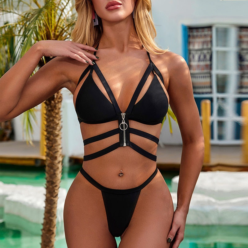 Triangle Zipper Hollow Out Bikini Set