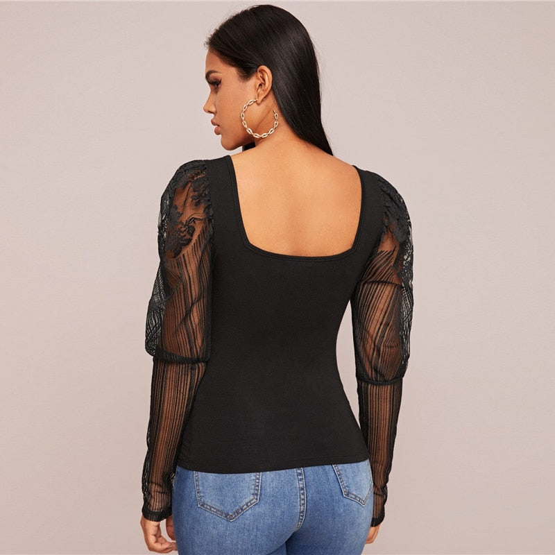 Black Square Neck Lace Leg-of-mutton Sleeve Top
