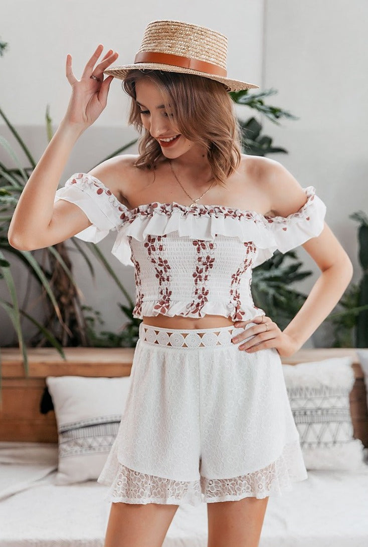 Ruffle Lace Flower Pattern Shorts