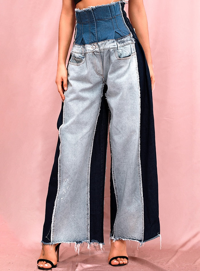 High Waist Colorblock Wash Wash Denim Straight Pants