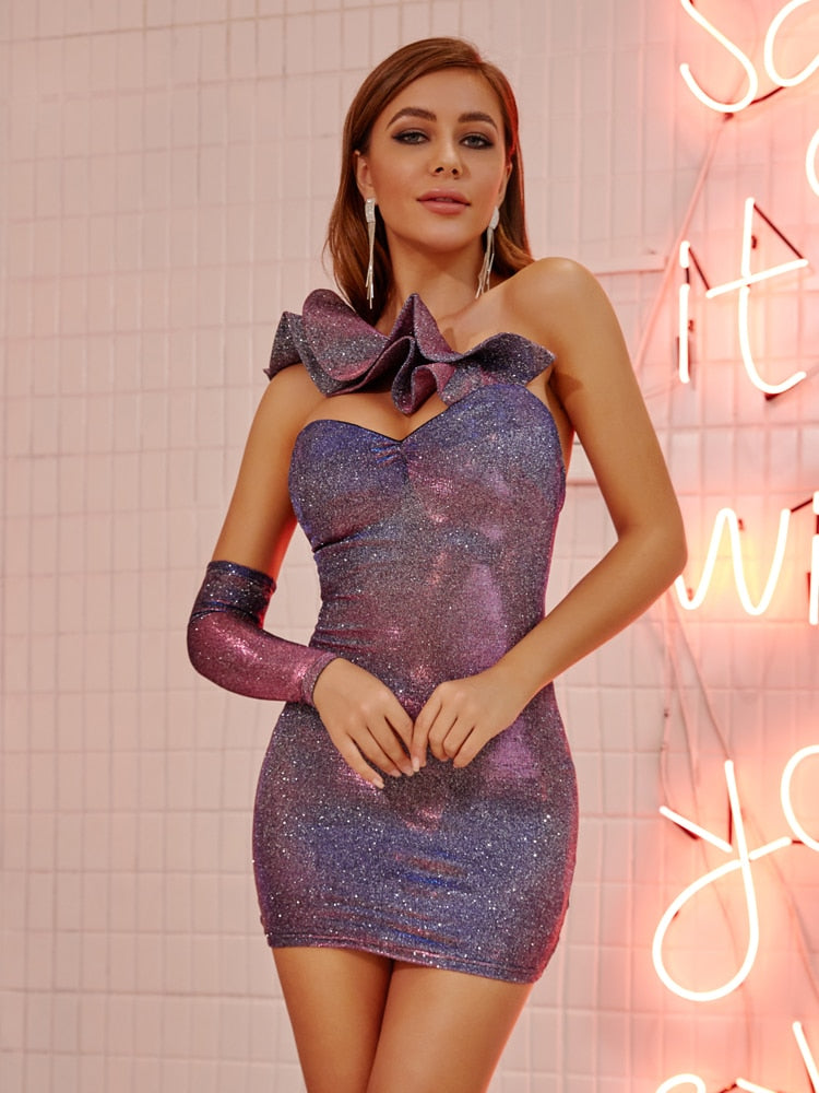 Ruffles Neck Sparkling Bodycon Party Mini Dress