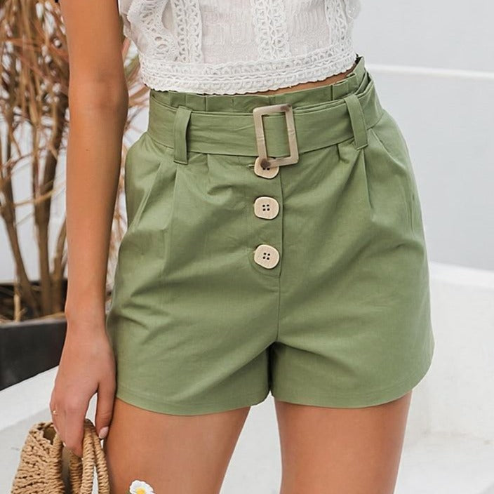 Green Sash Belt Cotton Shorts
