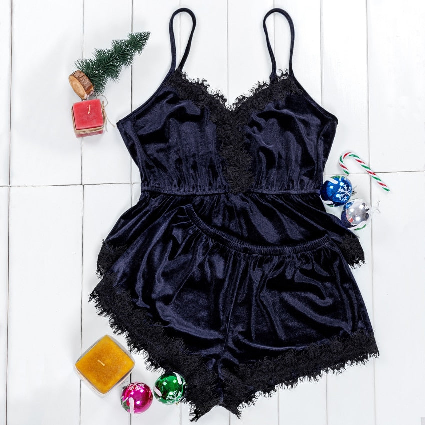 Navy Blue V Neck Lace Velvet Cami PJ Set