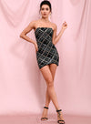 Tube Colorful Plaid Sequins Bodycon Party Mini Dress