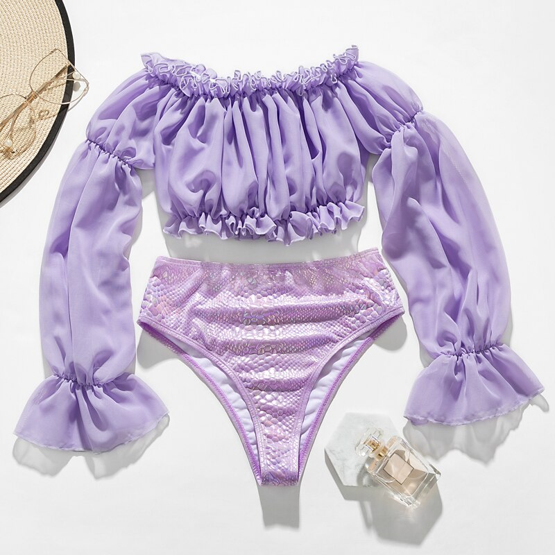 Ruffled Mesh Long Sleeve High Waist Bikini Set