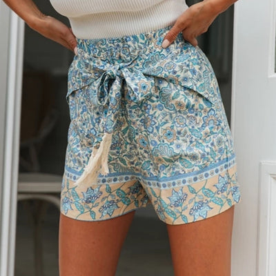 Floral Print Elastic Waist Pleated Shorts