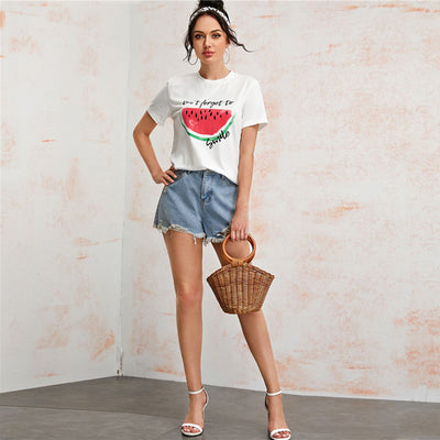 Watermelon and Slogan Graphic Tee