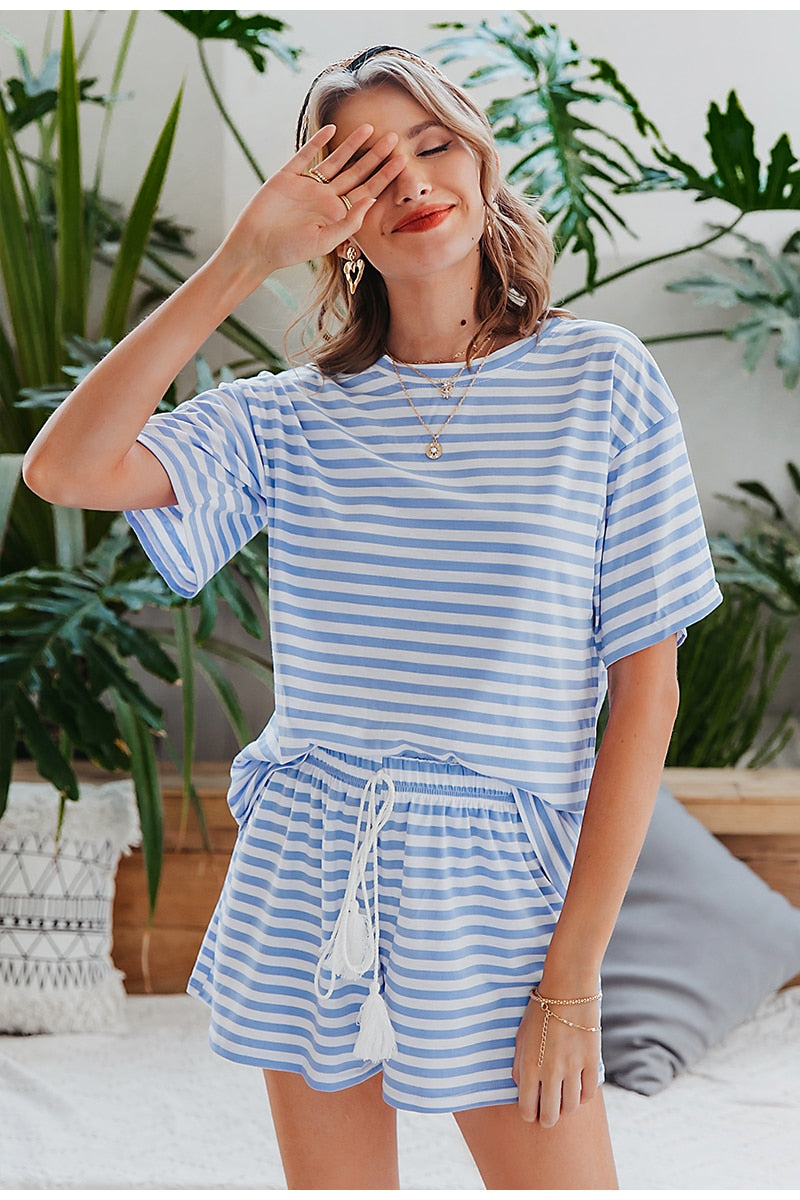 Casual Striped Tassel Loose T-shirt Co-Ord Sets