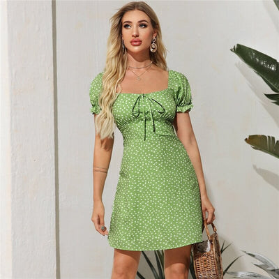 Green Knot Front Puff Sleeve Floral Mini Day Dress