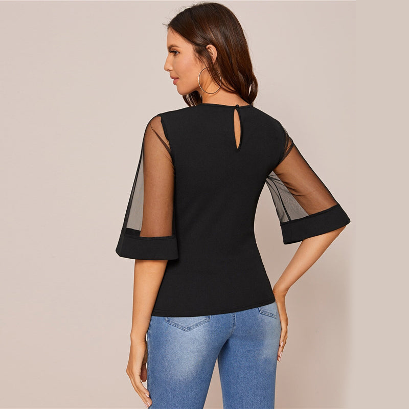 Black Mesh Panel Bell Sleeve Top