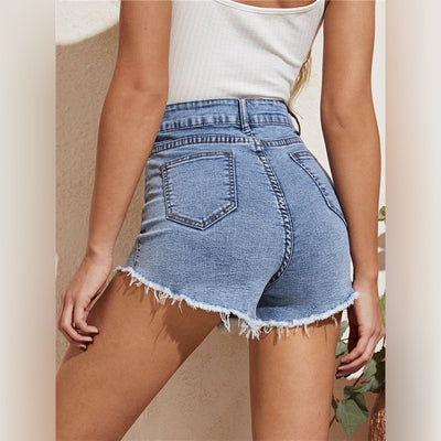 Frayed Edge Skinny High Waist Denim Shorts