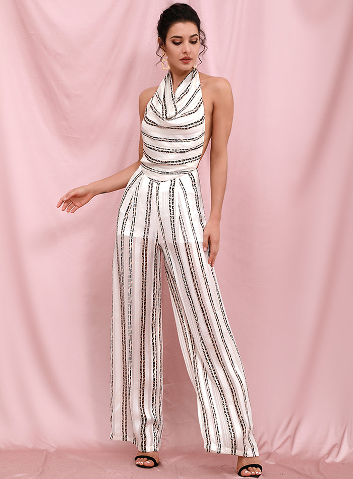 Backless Hanging Neck White Striped Print Fit Jumpsuit