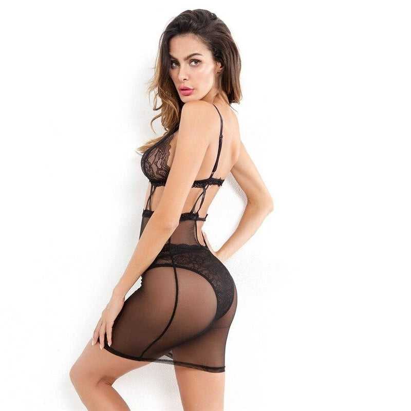 Mesh Contrast Lace Slips With Thong