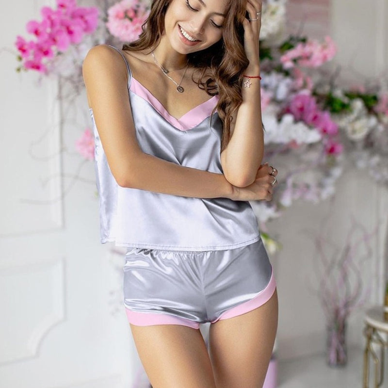 V Neck Silver Splicing Pajamas With Shorts