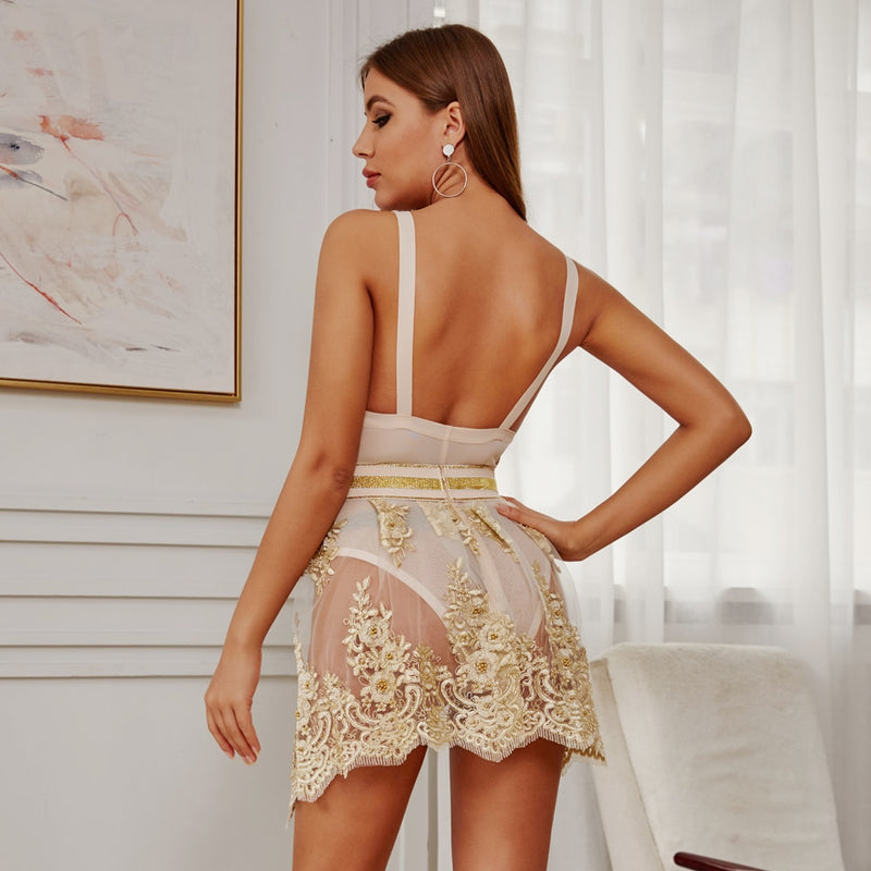 Bodysuit And Mesh Pearl Sparkle Festival Party Co-ord Set