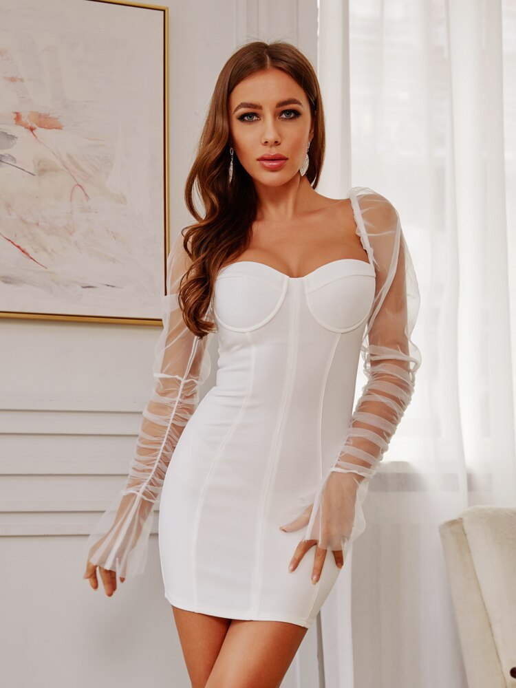 White Puff Sleeve Party Mesh Mini Dress
