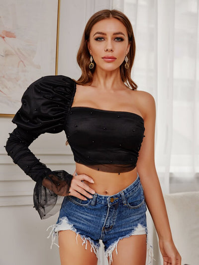 Pearl One Shoulder Puff Sleeve Sexy Crop Top